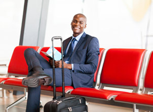 African American Business Man Waiting at Airport