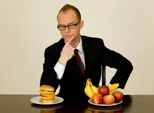 Business Man Eating Healthy Choice