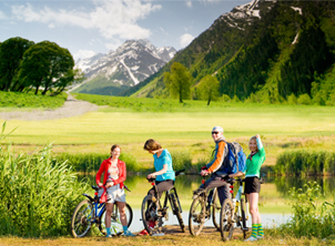 Family of Cyclists in the great outdoors