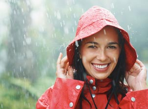 Woman Smiling in Rain Outdoors